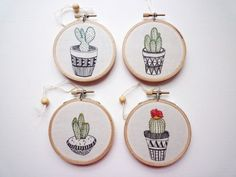 Plant Art 'Cactus 4' Modern Embroidery by by CheeseBeforeBedtime