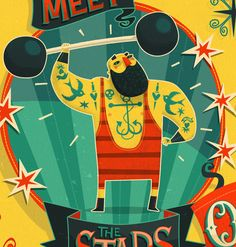 Vintage circus poster themed editorial illustration for Variety magazine