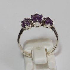 Sterling Silver Trilogy Purple Sapphire Gemstone Ring.  925 Sterling Silver.