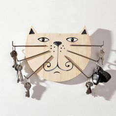 Original Wood Key Holder Big Cat with Iron Moustache by SundukFlo on Etsy