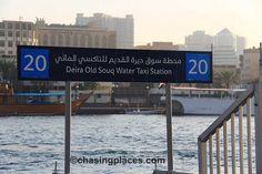 How to Get to Bur Dubai Old Souk/Textile Souk By Dubai Metro Train or Boat Bur Dubai, Train Station, Taxi, Signage, Travel Guide, Boat, Places, Water, Gripe Water