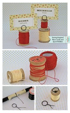 In Stitches: Place Cards & Spool Holders