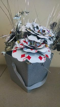 Handcrafted from vintage, poker playing cards, These flowers are the little extra touch needed for the perfect Vegas, Poker, or Casino themed