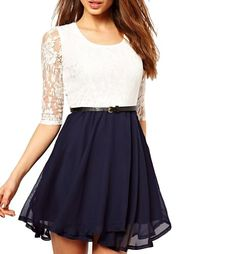 DearLover Women's Fashion Chiffon Mini Dress With Lace Top O Neck And 1/2 Sleeves Multicoloured Medium Dear-lover http://www.amazon.com/dp/B00KM9NTUC/ref=cm_sw_r_pi_dp_gdv2tb1KZE9FP1QT
