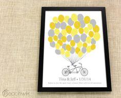 Wedding Guest Book Alternative - The Signature Bikewik - A Peachwik Personalized Art Print - 50 guest sign in -  Balloons & Bike Guestbook. $38.00, via Etsy.