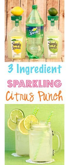 Citrus Punch Recipe! Just 3 ingredients!! Add a splash of summer to any party with this EASY punch - perfect for your upcoming parties and showers! | http://TheFrugalGirls.com