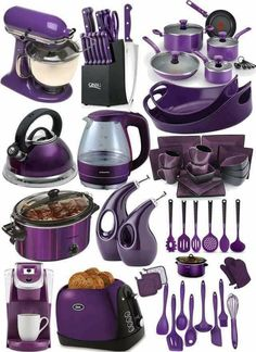 Love these purple kitchen items ! Purple Kitchen Decor, Purple Kitchen Accessories, Cool Kitchen Gadgets, Cool Kitchens, Kitchen Stuff, Tim Burton Stil, Purple Furniture, Purple Rooms, Dark Purple Bedrooms