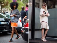 Long, oversized sweaters + midi and short skirts = what we love about fall. ...