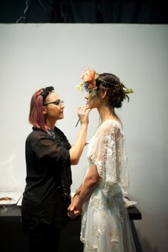 Backstage at the Claire Pettibone 2013 fashion show - Photo: @Southern Weddings Magazine