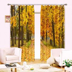 Visually Stunning Yellow Tree Leaves Printing 3D Curtain on sale, Buy Retail Price 3D Scenery Curtains at Beddinginn.com