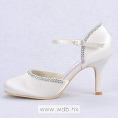 """Amazing 3\"" Rhinestones Chain Almond Toe D'orsay - Ivory Satin Wedding Shoes (11 colors) $64.98"""