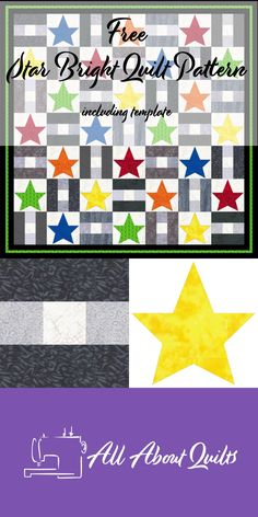 A FREE quilt pattern using two alternating blocks - a nine patch and an applique star block. The perfect quilt for a beginner quilter. Applique Quilt Patterns, Pattern Blocks, Block Patterns, Star Blocks, Quilt Blocks, Quilting Designs, Quilt Design, Bright Quilts, Nine Patch