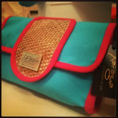 Turquoise and Hot Pink Clutch