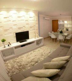 43 Amazing TV Wall Decor Ideas for Living Room Small Living Rooms, Home Living Room, Living Room Designs, Living Room Decor, Small Apartments, Small Spaces, Tv Wall Decor, Design Case, New Homes