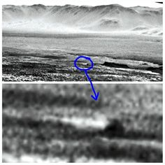 Martian skater boat boogying across the ice in Gale Crater. The water is frozen in front of the mesa now. Curiosity Sol 1923, http://www.midnightplanets.com/web/MSL/image/01923/NLB_568211034EDR_F0671846NCAM07753M_.html