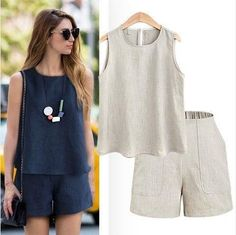 Women Summer Style Casual Cotton Linen Tops Shirt Feminine Pure Color Female Office Suit Set Women's Costumes Hot Short Sets - - Women Summer Style Casual Cotton Linen Tops Shirt Feminine Pure Color – geekbuyig Source by Women's Summer Fashion, Look Fashion, Fashion Models, Fashion Outfits, Fashion Trends, Fashion 2018, Fashion Boots, Fashion Online, Fashion Websites