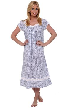Del Rossa Women's Adele 100% Cotton Long Victorian Nightgown, Small Blue Floral Print (A0528P87SM)