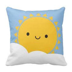 Kawaii Sun Throw Pillows