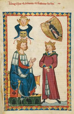 """King Tyro of Scotland and Fridebrant his son"" (not the name of a singer, but the title of an epic poem, dated to the first half of the century) Medieval World, Medieval Art, Medieval Manuscript, Illuminated Manuscript, Suiza Zurich, Renaissance, Medieval Costume, Book Of Hours, Dark Ages"