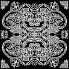 Black and white paisley art