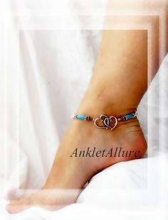 Forever Southwestern Love Anklet Turquoise White Anklet Fusion Copper Silver Ankle Bracelet