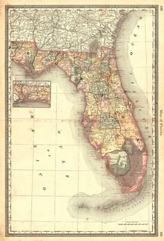 Map of Florida.  H.H. Hardesty, Rand, McNally & Co. 1883.  From Hardesty's Historical and geographical encyclopedia, illustrated. Margins waterstained.