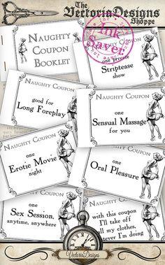 Printable Naughty Coupons Printable Man Gift por VectoriaDesigns