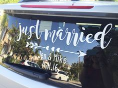 Make Your Own Just Married Car Window Cling Sign Window Signs - How to make window decals with cricut