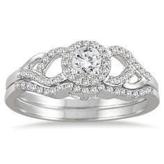 1/2 Carat Diamond Bridal Set in 10K White Gold