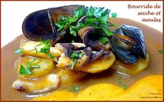 bourride de seiche et moules à la sauce rouille Sauce Rouille, French Dishes, Fish And Seafood, Pot Roast, Soul Food, Seafood Recipes, Thai Red Curry, Meat, Carne Asada