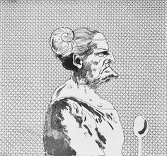 """The Cook"" by David Hockney from ""Grimm's Fairy Tales"", 1969 (etching and aquatint)"
