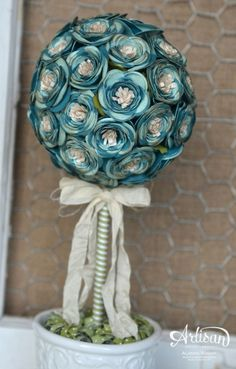 Artisan Wednesday Wow ~ Spiral Flower Topiary Tree ~ Sleepless Stamper