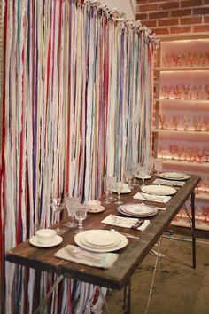 Imagine your home decor window display use a low and long co Imagine your home decor window display use a low and long co Too Good to be Threw Windows 4 nbsp hellip Strip Curtains, Boho Curtains, Curtain Fabric, Fabric Decor, Ribbon Backdrop, Ribbon Wall, Fabric Ribbon, Fabric Strips, Soft Furnishings