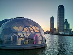 Rotterdam's prototype floating city project will be moored to the waterfront through 2015. Image by William Veerbeek/Flickr.