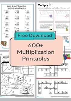 These multiplication worksheets cover everything from times tables to multiplying with decimals. We feature multiplication worksheets for kids of every level. Free Printable Worksheets, Math Worksheets, Math Activities, Free Printables, Math Games, Multiplication Practice, Maths, Multiplication Strategies, Third Grade Math