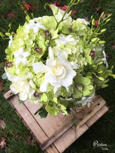 Bridal Bouquet ~ Lime Green & White Hydrangea, Gardenias, Orchids, Stephanotis, finished with Greenery and Orchid Buds