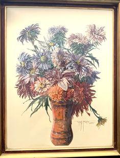 Aquarell auf Papier signiert vom Künstler Gustav Veith (1875 - 1951) 49,5 x 63,5 cm #gustavveith #aquarell #dahlien # blumenstrauss #veithaquarell #blumenmalerei