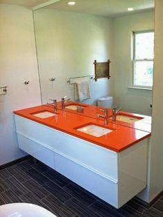 Fibre Bathroom Cabinets With Orange Sink Contemporary Bathroomcabinets