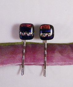 Fused Glass Hair Bobbies Dichroic Glass Set of by FusedGlassRocks