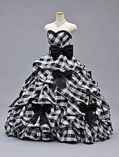 Preto e branco vestido xadrez Quinceanera