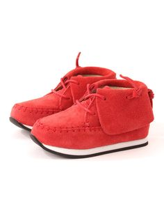 The vibrant red moccasin style lace up shoes have soft Nubuck leather uppers with fold over flaps to the top of the shoes. The Akid Stones have EVA footbeds and dual tone rubber outsoles in black and white. Off Duty, Baby Shoes, Footwear, Stone, Boots, Sneakers, Girls, Casual, Clothing