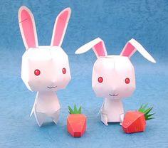 โมเดลกระดาษกระต่ายน้อยกับแครอท (Cute rabbits and carrots paper model)