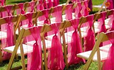 Garden Ceremony: Bring Out Color    To keep your wedding from looking green through and through, add vibrancy with a bold hue. Try draping bright fabric over the chair backs to create eye-catching blocks of color.