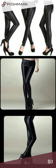 Faux Leather Sexy Black Leggings! COMING SOON!!  Super Sexy Faux Leather Leggings In Black. Made Of Polyester. Pair These With Almost Any Outfit And Shoes! Hot Trend Setting Item This Year!  I Will Be Getting XS/S, Medium, Large, And XL.  Please Like This Item And I Will Contact You Immediately When They Arrive! Thank You!! Fast Shipping!! Boutique  Pants Leggings