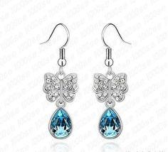 Swarovski Crystal Aquamarine Blue Pear Shaped Crystal Butterfly Dangle Earrings