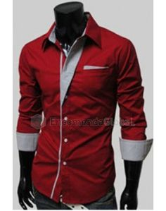 Camisa social masculina com detalhes na gola e punho