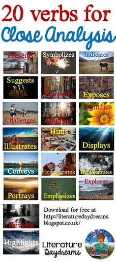 Blog post and FREEBIE download on analytical verbs from literaturedaydreams | Educational Finds and Teaching Treasures | Pinterest
