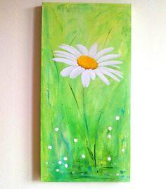Daisy Abstract flower  Original acrylic painting 16 by ArtDuSoleil