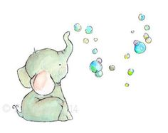 Nursery Art Bubble Party Art Print by trafalgarssquare on Etsy