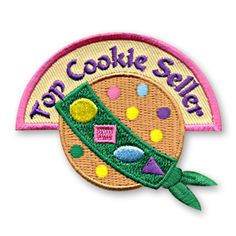 2 1/4 x 2 1/2 Inches **IRON-ON backing for easy & Snappy application** Looking for a way to recognize the top cookie seller in your youth group or troop this year? We've got you covered with our Top Cookie Seller fun patch. http://www.snappylogos.com/Top-Cookie-Seller-Fun-Patch/productinfo/3057/